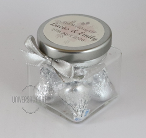 Personalised Glass 80ml Square Jar Filled With Hersheys Kisses Chocolate - Soft Pink Silver Floral