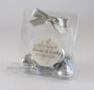 Personalised PVC Box Filled With Hersheys Kisses Chocolate - Soft Pink Silver Floral