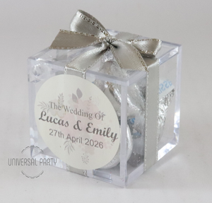 Personalised Square Acrylic Box Filled With Hersheys Kisses Chocolate - With Sticker - Soft Pink Silver Floral