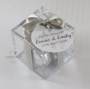 hershey kisses in box favour with tag