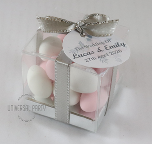 Personalised Square PVC Box Filled With Sugared Almonds - With Tag - Soft Pink Silver Floral