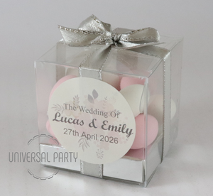 Personalised Square PVC Box Filled With Sugared Almonds - With Sticker - Soft Pink Silver Floral