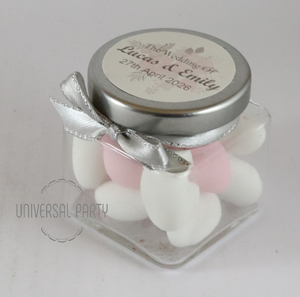 Personalised Glass Square 80ml Jar Filled With Sugared Almonds - Soft Pink Silver Floral