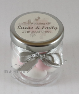 Personalised Glass Round 60ml Jar Filled With Sugared Almonds - Soft Pink Silver Floral