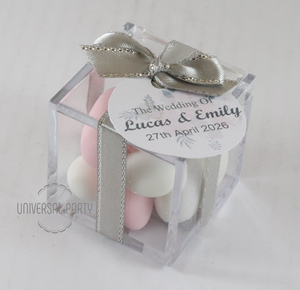 Personalised Square Acrylic Box Filled With Sugared Almonds - With Tag - Soft Pink Silver Floral