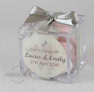 Personalised Square Acrylic Box Filled With Sugared Almonds - With Sticker - Soft Pink Silver Floral