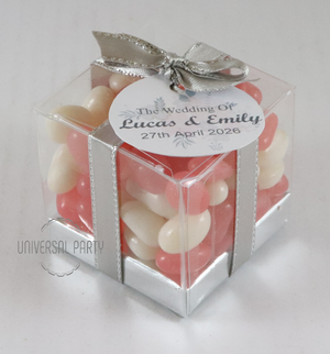 Personalised Square PVC Box Filled With Jelly Beans - With Tag - Soft Pink Silver Floral