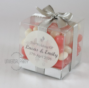 Personalised Square PVC Box Filled With Jelly Beans - With Sticker - Soft Pink Silver Floral