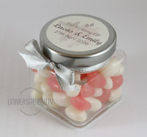 Personalised Glass Square 80ml Jar Filled With Jelly Beans - Soft Pink Silver Floral