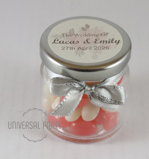 Personalised Glass Round 60ml Jar Filled With Jelly Beans - Soft Pink Silver Floral