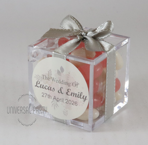 Personalised Square Acrylic Box Filled With Jelly Beans -With Sticker - Soft Pink Silver Floral