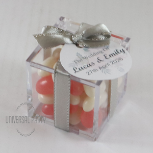 Personalised Square Acrylic Box Filled With Jelly Beans -With Tag - Soft Pink Silver Floral