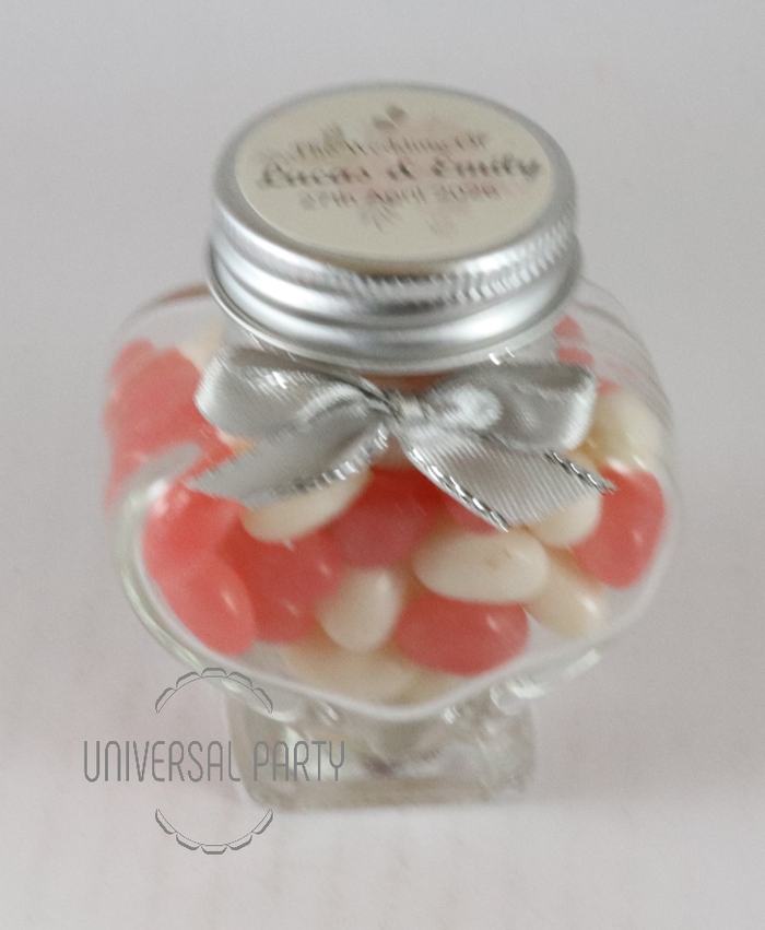 Personalised Glass Heart 60ml Jar Filled With Jelly Beans - Soft Pink Floral Themed