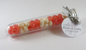 Personalised Acrylic Test Tube Jar Filled With Jelly Beans - With Tag - Soft Pink Silver Floral