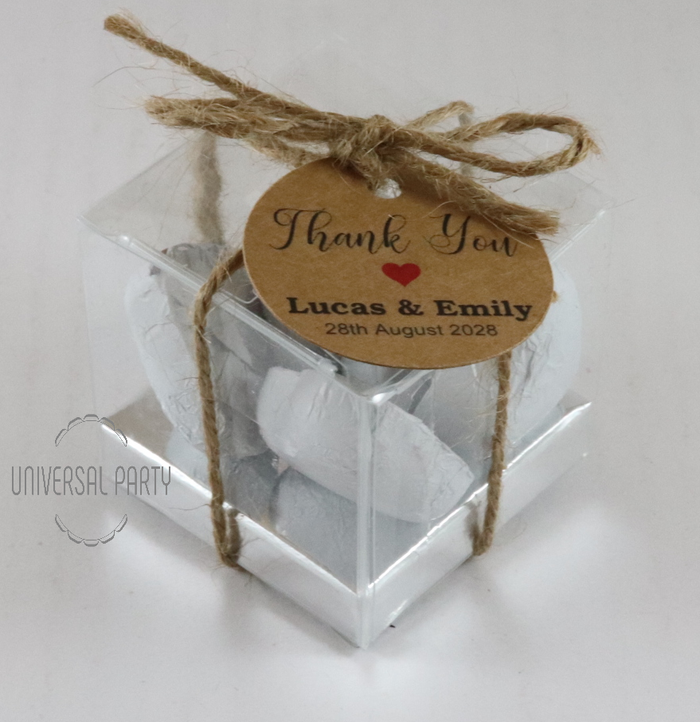 Personalised Square PVC box filled with foiled wrapped chocolate hearts - With Tag - Kraft brown thank you