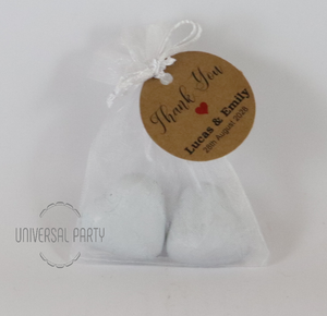 Personalised Organza Bag Filled With Foiled Wrapped Chocolate Hearts - Kraft Brown Thank You