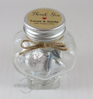 Personalised Glass Heart Shaped 60ml Jar Filled With Hersheys Kisses Chocolate - Kraft Brown Thank You