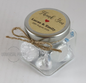 Personalised Glass 80ml Square Jar Filled With Hersheys Kisses Chocolate - Kraft Brown Thank You