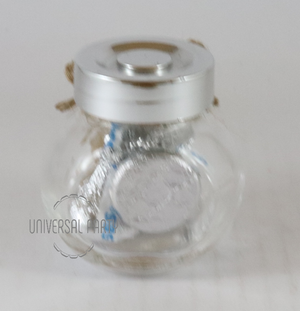 Personalised Glass Mini 50ml Round Jar Filled With Hersheys Kisses Chocolate - Kraft Brown Thank You