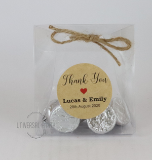 Personalised PVC Box Filled With Hersheys Kisses Chocolate - Kraft Brown Thank You