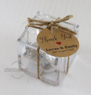 Personalised Square Acrylic Box Filled With Hersheys Kisses Chocolate - With Tag - Kraft Brown Thank You