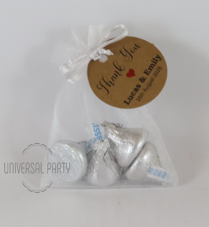 Personalised Organza Bag Filled With Hershey's Kisses Chocolate - Kraft Brown Thank You
