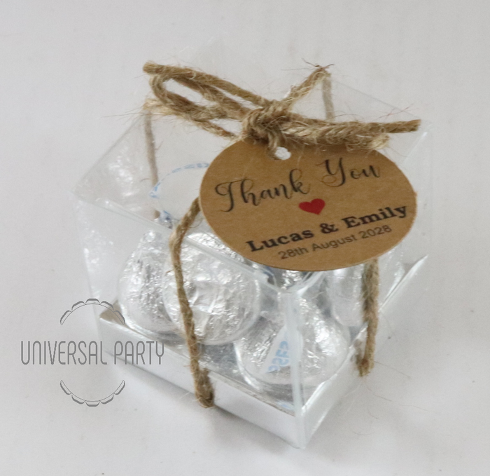 Personalised Square PVC Box Filled With Hersheys Kisses Chocolate - With Tag - Kraft Brown Thank You