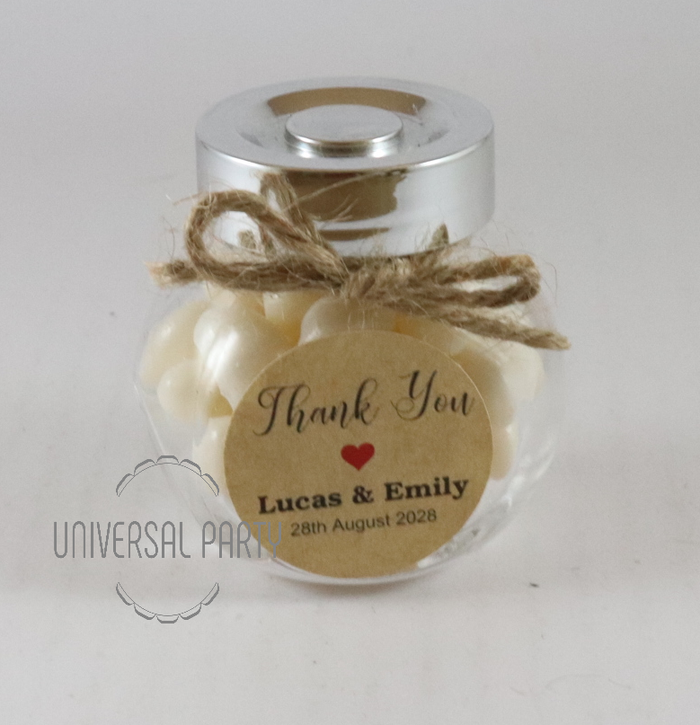 Personalised Glass Round Mini 50ml Jar Filled With Jelly Beans - Kraft Brown Thank You