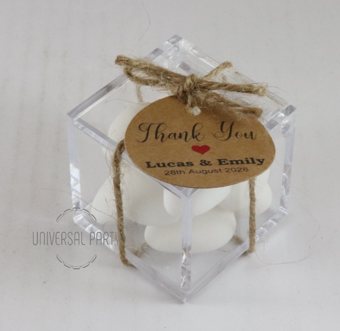 Personalised Square Acrylic Box Filled With Sugared Almonds - With Tag - Kraft Brown Thank You