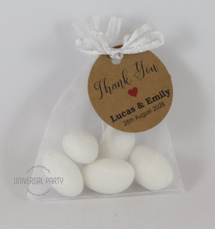Personalised Organza Bag Filled With Sugared Almonds - Kraft Brown Thank You