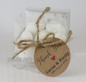 Personalised Square PVC Box Filled With Sugared Almonds - With Tag - Kraft Brown Thank You