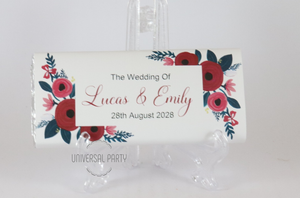 Red floral personalised chocolate bar