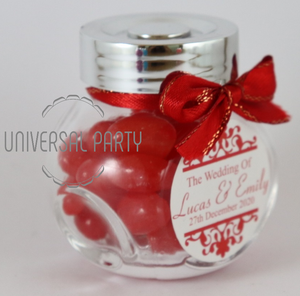 Personalised Glass Mini 50ml Jar Filled With Red Jelly Beans - Patterned