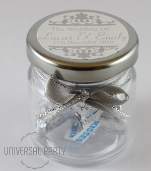 Personalised Glass Round 60ml Jar Filled With Hersheys Chocolate Kisses - Silver Patterned