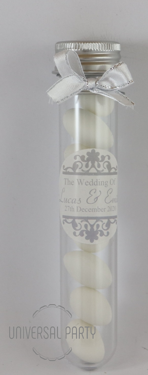 Personalised Acrylic Test Tube Jar Filled With Sugared Almond - Patterned