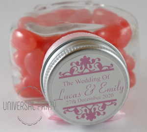 Personalised Glass Heart Shaped 60ml Jar Filled With Pink Jelly Beans