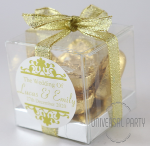 Personalised Square PVC Box Filled With Gold Foiled Wrapped Chocolate Hearts
