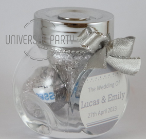 Personalised Glass Mini 50ml Jar Filled With Hersheys Kisses Chocolate - Silver Solid Patterned