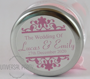 Personalised Round 60ml Jar Filled With Sugared Almond - Patterned