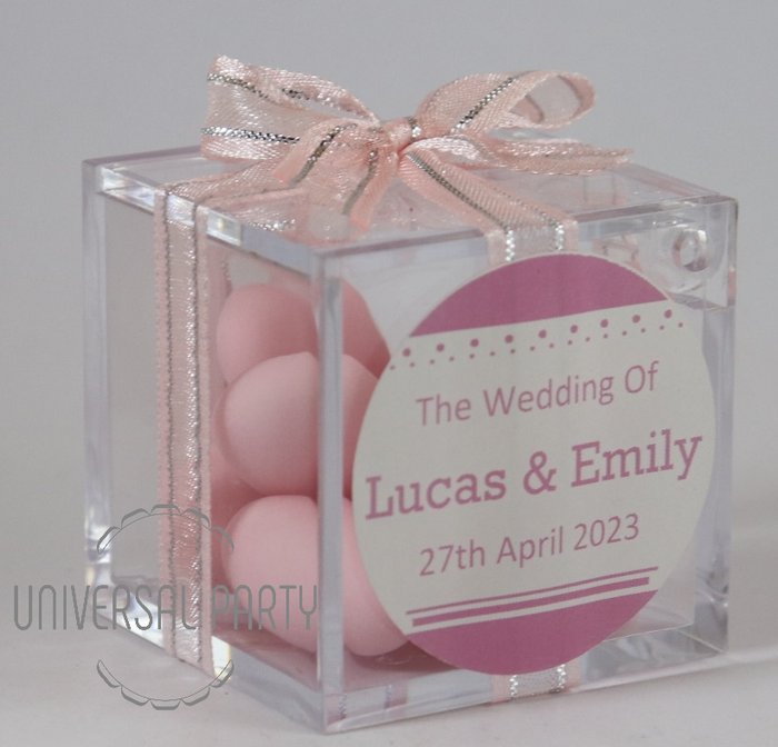 Personalised Square Acrylic Box Filled With Pink Sugared Almond
