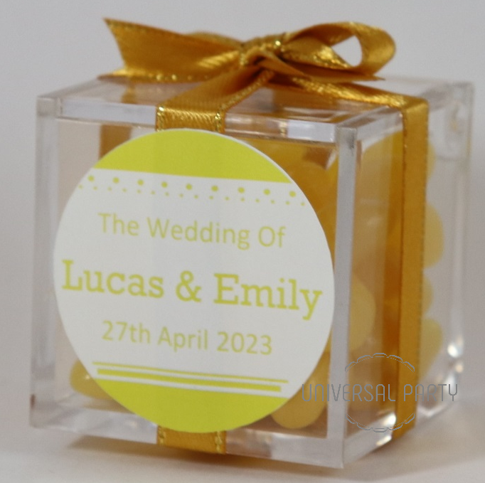 Personalised Square Acrylic Box Filled With Yellow Jelly Beans - Solid Patterned