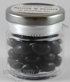 Personalised Glass Round 60ml Jar Filled With Black Jelly Beans - Solid Patterned