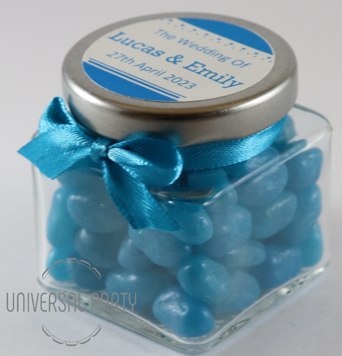 Personalised Glass Square 80ml Jar Filled With Blue Jelly Beans - Solid Patterned