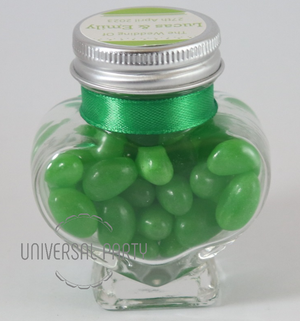 Personalised Glass Heart Shaped 60ml Jar Filled With Green Jelly Beans - Solid Patterned