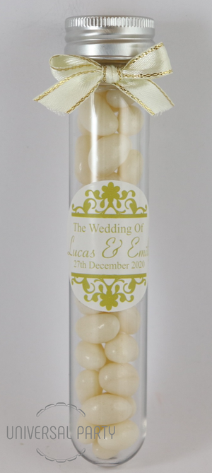 Personalised Acrylic Test Tube Jar Filled With White Jelly Beans - Patterned