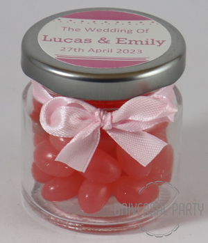 Personalised Glass Round 60ml Jar Filled With Pink Jelly Beans - Solid Patterned