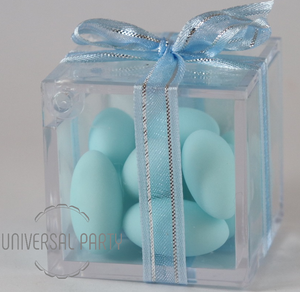 Personalised Square Acrylic Box Filled With Blue Sugared Almond