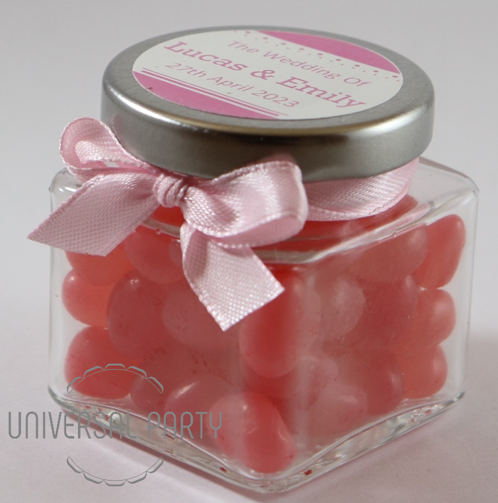 Personalised Glass Square 80ml Jar Filled With Pink Jelly Beans - Solid Patterned