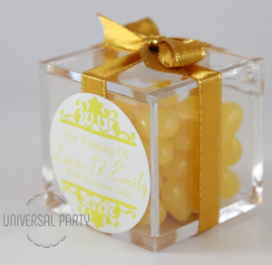 Personalised Square Acrylic Box Filled With Yellow Jelly Beans - Patterned