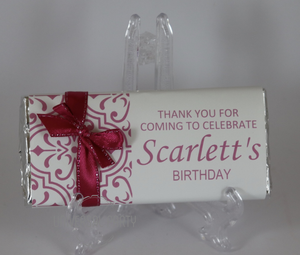 Personalised Hot Pink Pattern Chocolate Bar With Ribbon